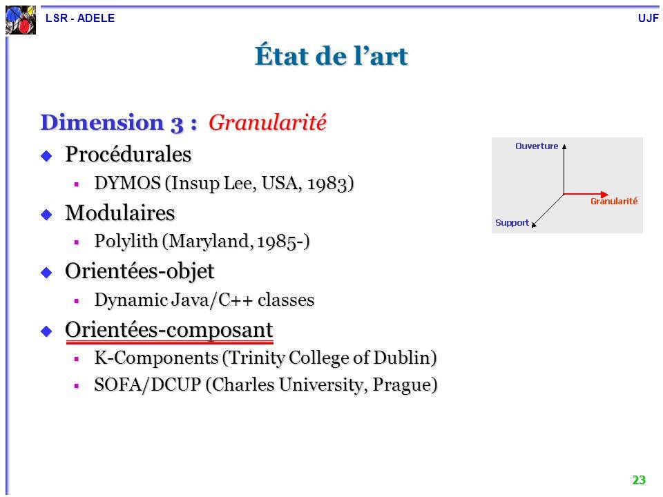 LSR - ADELE UJF 23 État de lart Dimension 3 : Granularité Procédurales Procédurales DYMOS (Insup Lee, USA, 1983) DYMOS (Insup Lee, USA, 1983) Modulair