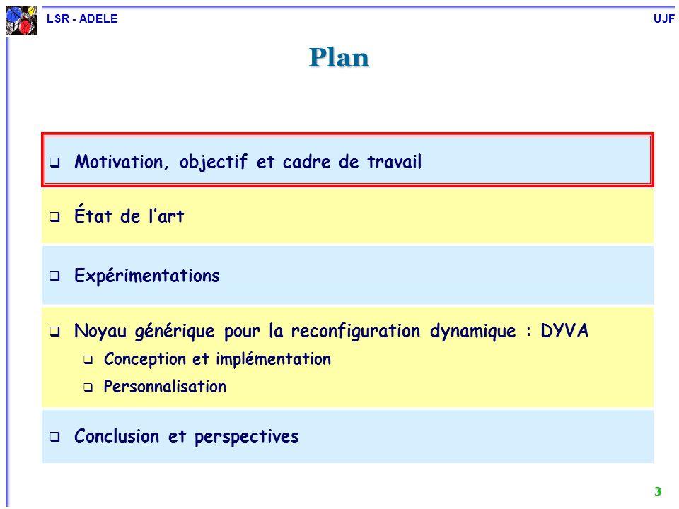 LSR - ADELE UJF 3 Plan Motivation, objectif et cadre de travail État de lart Expérimentations Noyau générique pour la reconfiguration dynamique : DYVA