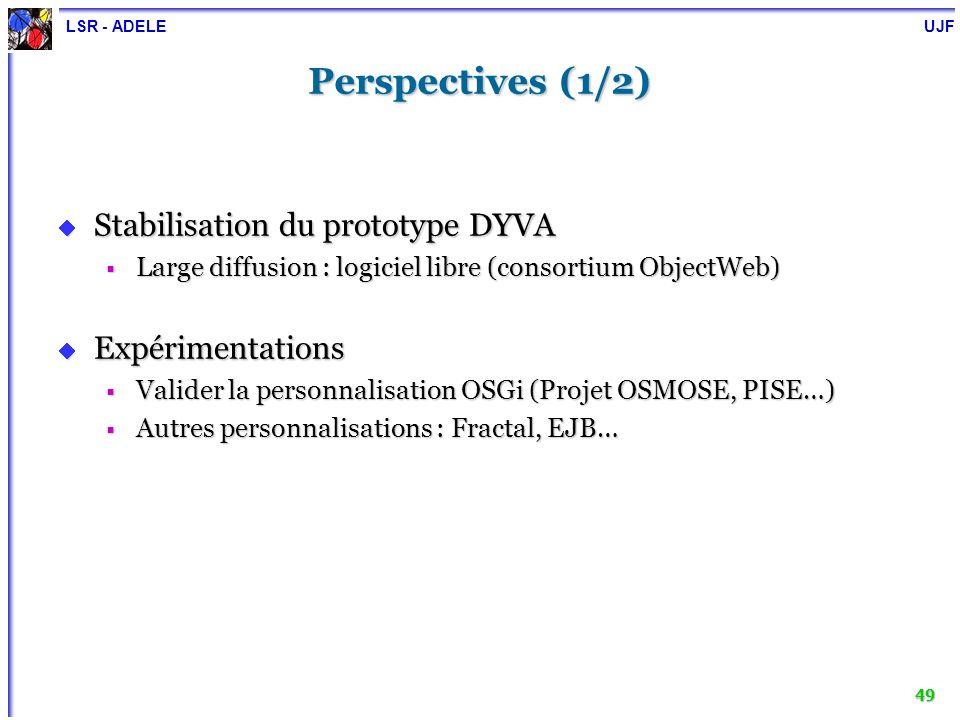 LSR - ADELE UJF 49 Perspectives (1/2) Stabilisation du prototype DYVA Stabilisation du prototype DYVA Large diffusion : logiciel libre (consortium Obj