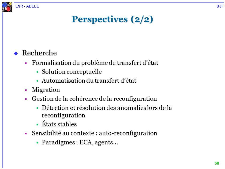 LSR - ADELE UJF 50 Perspectives (2/2) Recherche Recherche Formalisation du problème de transfert détat Formalisation du problème de transfert détat So