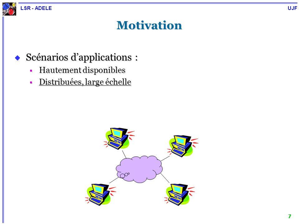 LSR - ADELE UJF 7 Motivation Scénarios dapplications : Scénarios dapplications : Hautement disponibles Hautement disponibles Distribuées, large échell