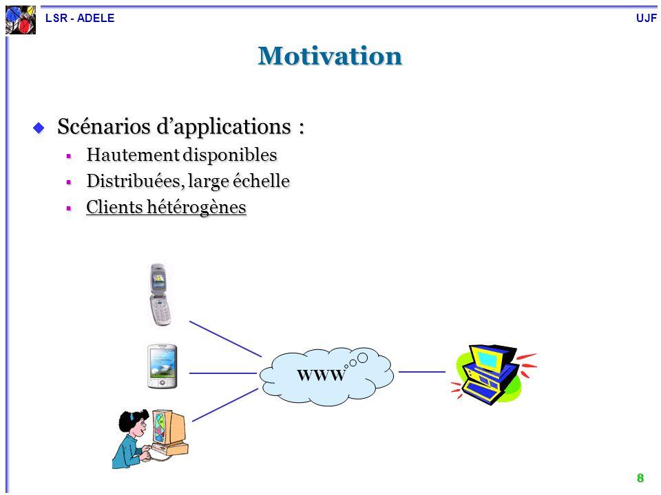 LSR - ADELE UJF 8 Motivation Scénarios dapplications : Scénarios dapplications : Hautement disponibles Hautement disponibles Distribuées, large échell
