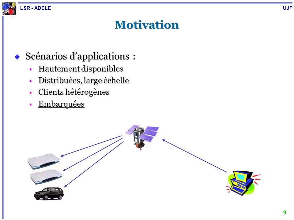 LSR - ADELE UJF 9 Motivation Scénarios dapplications : Scénarios dapplications : Hautement disponibles Hautement disponibles Distribuées, large échell