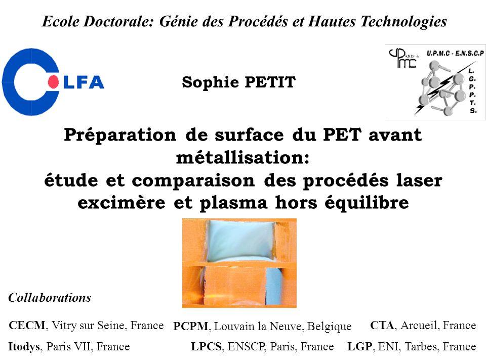 Préparation de surface du PET avant métallisation: étude et comparaison des procédés laser excimère et plasma hors équilibre Sophie PETIT CECM, Vitry