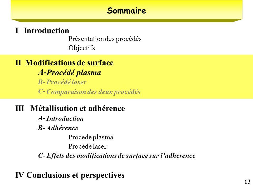 13 Présentation des procédés Objectifs Sommaire IntroductionI Modifications de surface II Procédé plasma A- Procédé laserB- Comparaison des deux procé