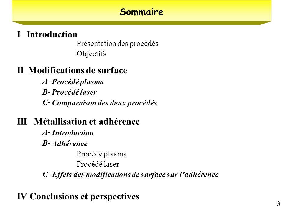 3 Présentation des procédés Objectifs Sommaire IntroductionI Modifications de surface II Procédé plasma A- Procédé laserB- Comparaison des deux procéd