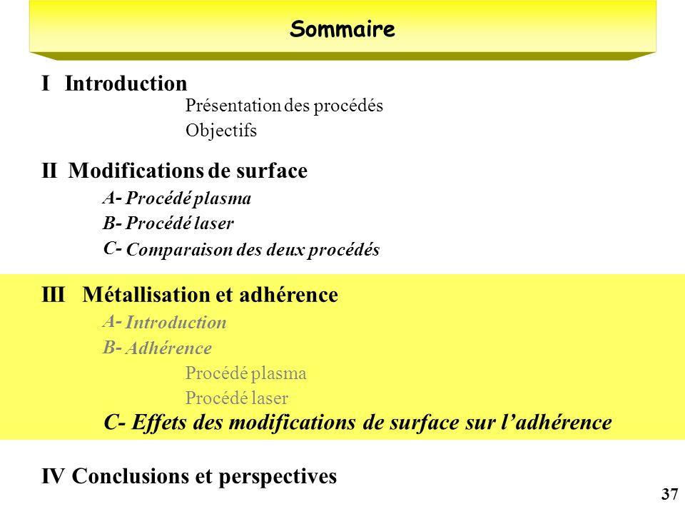 37 Présentation des procédés Objectifs Sommaire IntroductionI Modifications de surface II Procédé plasma A- Procédé laserB- Comparaison des deux procé