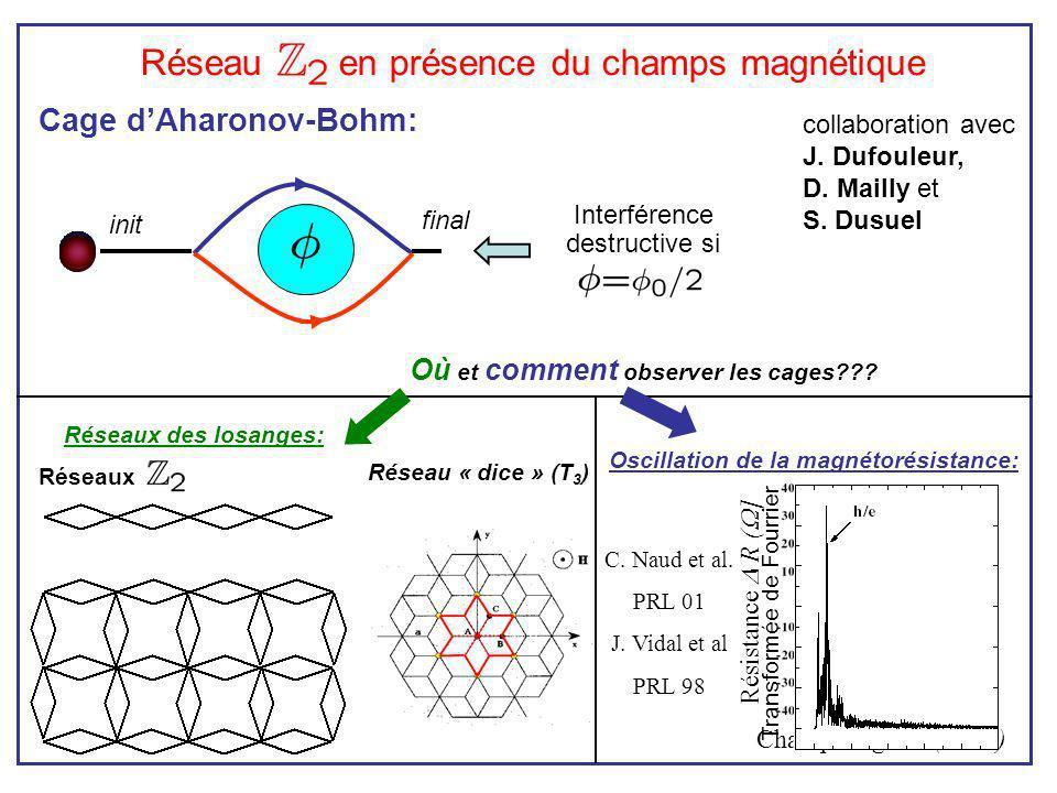 Résistance R ( ] Champ magn. B (Tesla) Réseau en présence du champs magnétique collaboration avec J. Dufouleur, D. Mailly et S. Dusuel Cage dAharonov-