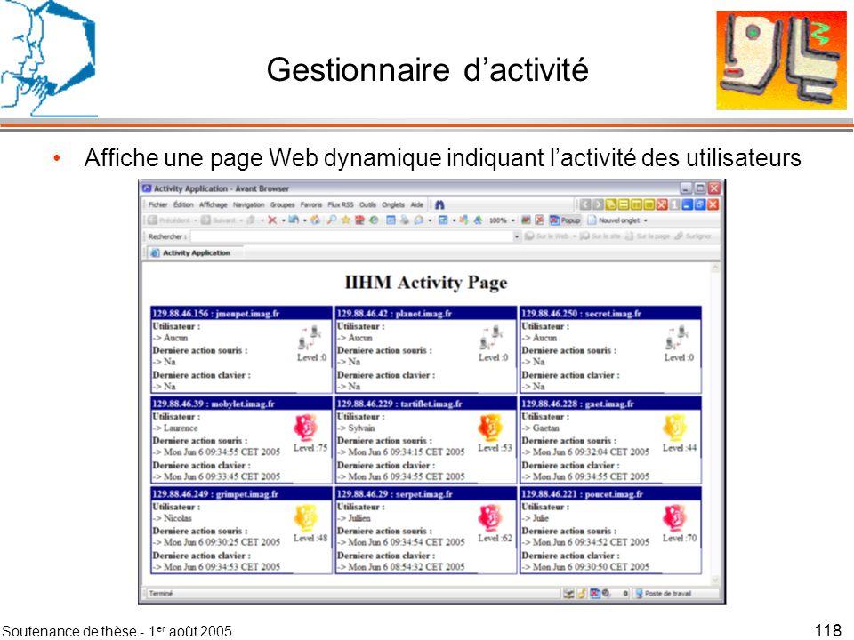 Soutenance de thèse - 1 er août 2005 119 Gestionnaire dactivité Vue générale Serveur Web Tomcat Client Web Affiche une page Web dynamique indiquant lactivité des utilisateurs Client Web Pages dinformations
