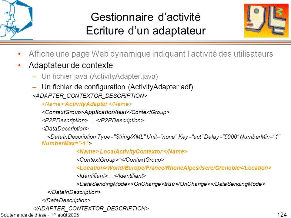 Soutenance de thèse - 1 er août 2005 125 Gestionnaire dactivité Ecriture dun contexteur Affiche une page Web dynamique indiquant lactivité des utilisateurs Adaptateur de contexte Contexteur dactivité clavier –le fichier java (ActivityKeyboardContextor.java) import context.contextor.*; public class ActivityKeyboardContextor extends ElementaryContextor{ public void init() { try{ mp = Runtime.getRuntime().exec( KeySensor.exe ); // init du capteur in = mp.getInputStream(); }catch (Exception e){ System.out.println( error in KeyboardTh : Init ); } public void CloseContextor(){ mp.destroy(); // fermeture du processus de gestion du capteur }