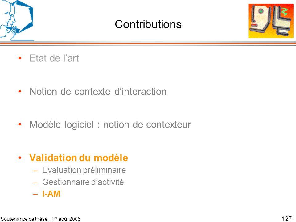 Soutenance de thèse - 1 er août 2005 128 I-AM Travaux de C.
