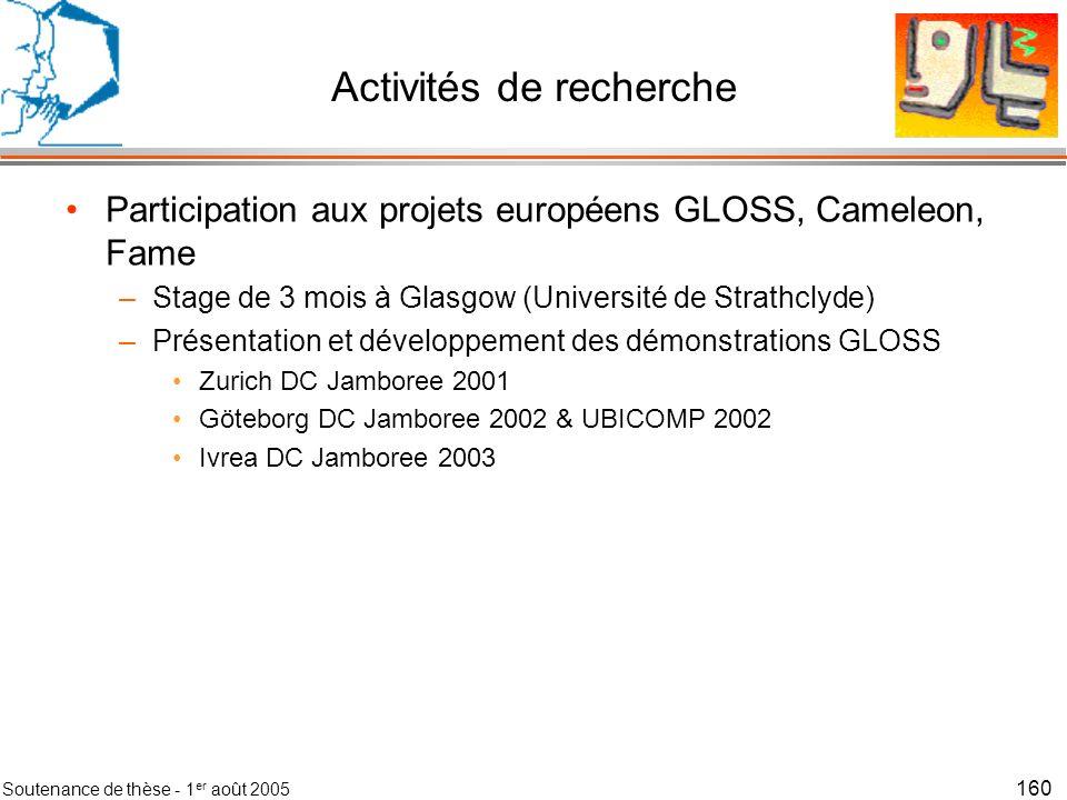 Soutenance de thèse - 1 er août 2005 160 Activités de recherche Participation aux projets européens GLOSS, Cameleon, Fame –Stage de 3 mois à Glasgow (