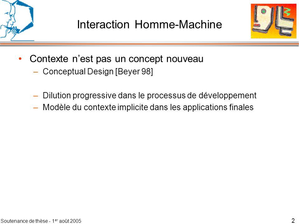 Soutenance de thèse - 1 er août 2005 3 Interaction Homme-Machine Contexte nest pas un concept nouveau Évolutions récentes de linformatique –Mobilité des utilisateurs