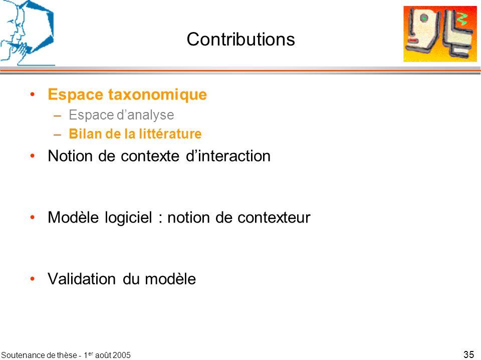 Soutenance de thèse - 1 er août 2005 36 Contexte Absence de consensus mais des leçons