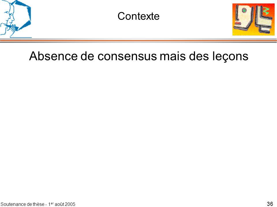 Soutenance de thèse - 1 er août 2005 37 Contexte Absence de consensus mais des leçons Le contexte peut seulement être défini pour une finalité (Perception artificielle)