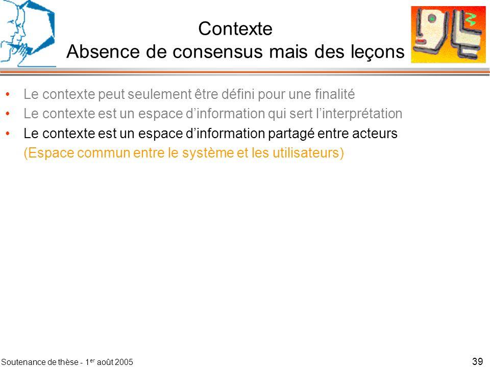 Soutenance de thèse - 1 er août 2005 40 Contexte Absence de consensus mais des leçons Le contexte peut seulement être défini pour une finalité Le contexte est un espace dinformation qui sert linterprétation Le contexte est un espace dinformation partagé entre acteurs (Espace commun entre le système et les utilisateurs) Contexte Global
