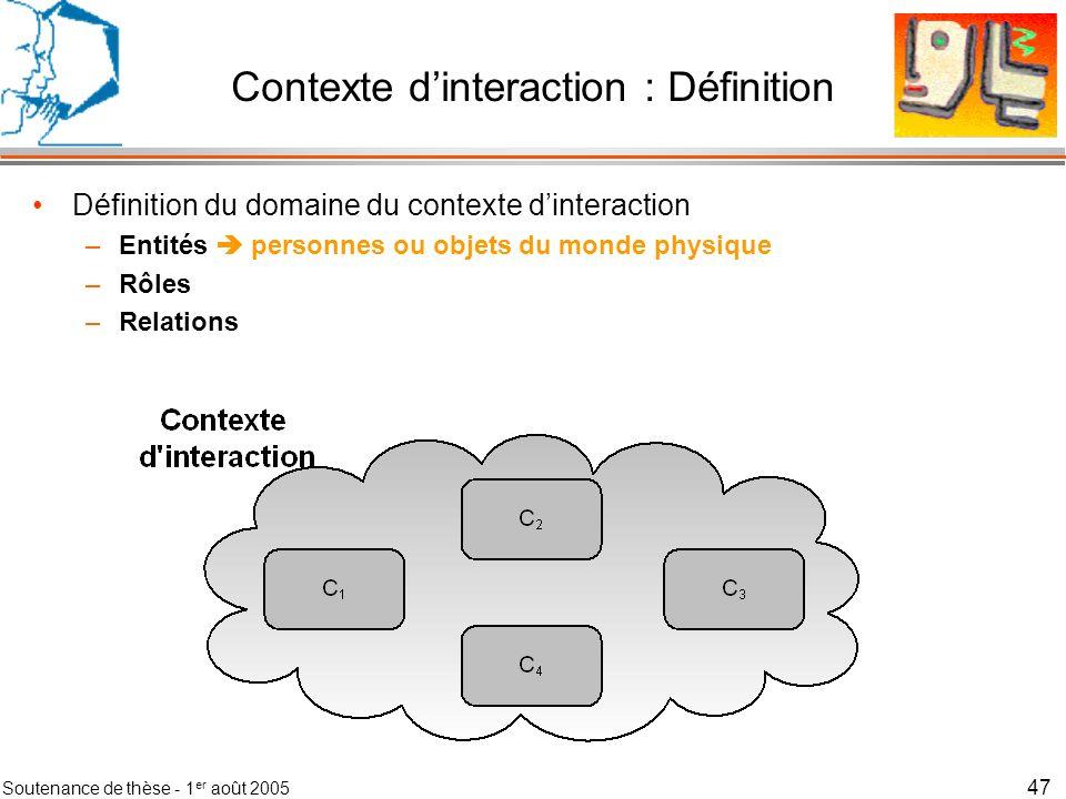 Soutenance de thèse - 1 er août 2005 48 Contexte dinteraction : Définition Définition du domaine du contexte dinteraction –Entités personnes ou objets du monde physique –Rôles fonction remplie par une ou plusieurs entités –Relations