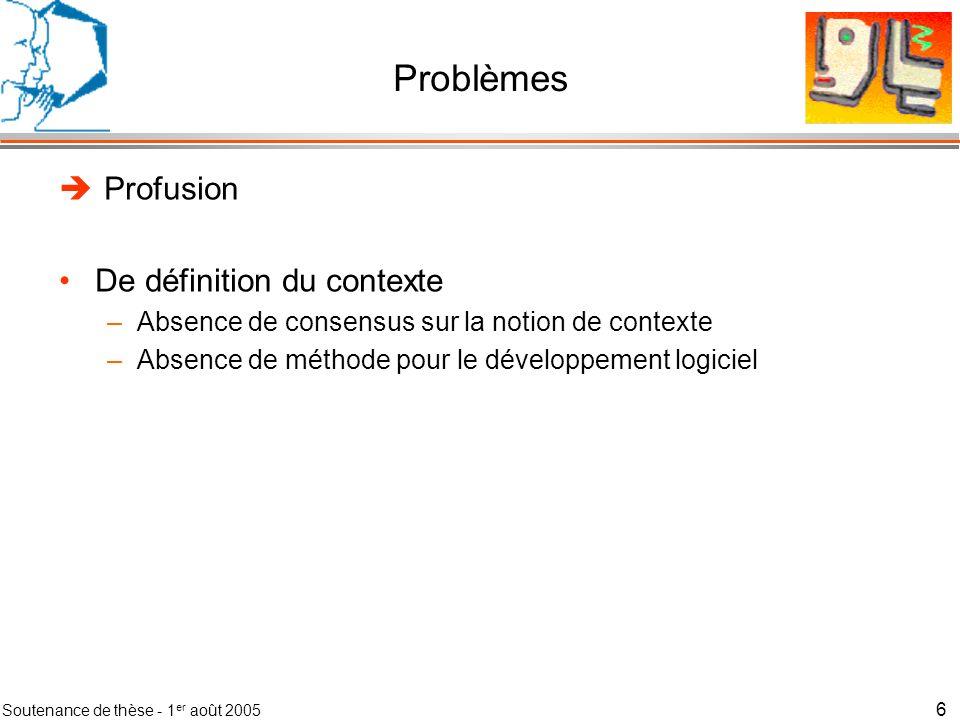 Soutenance de thèse - 1 er août 2005 7 Problèmes Profusion De définitions du contexte –Absence de consensus sur la notion de contexte –Absence de méthode pour le développement logiciel De solutions logicielles pour la gestion du contexte –Développement ad-hoc –Comparaison des infrastructures de gestion du contexte difficile