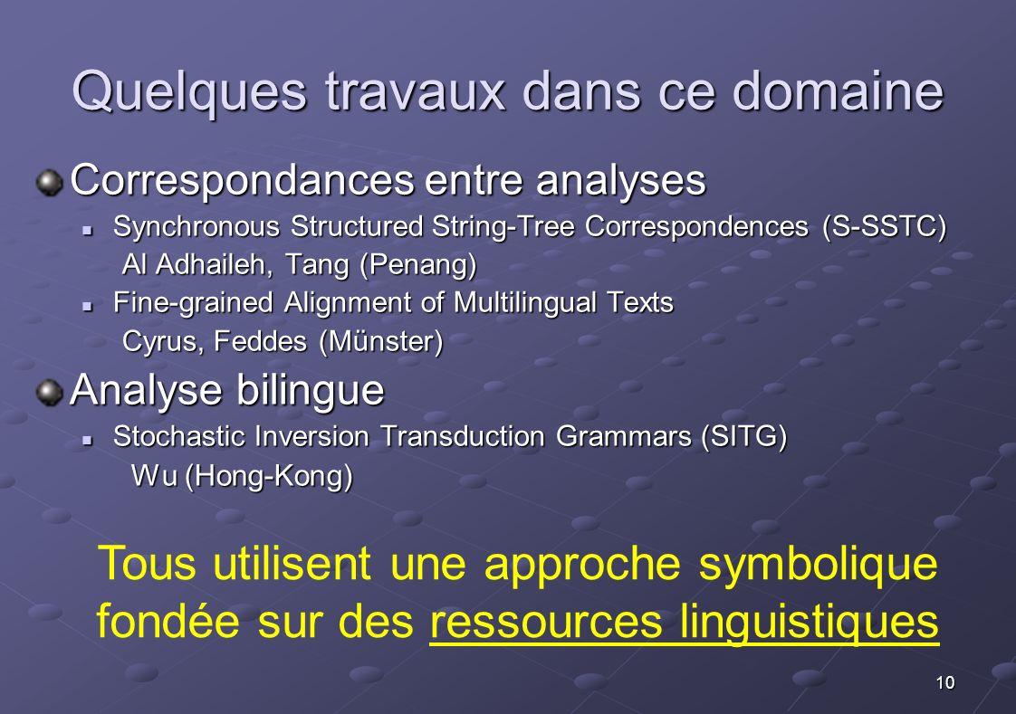 10 Quelques travaux dans ce domaine Correspondances entre analyses Synchronous Structured String-Tree Correspondences (S-SSTC) Synchronous Structured