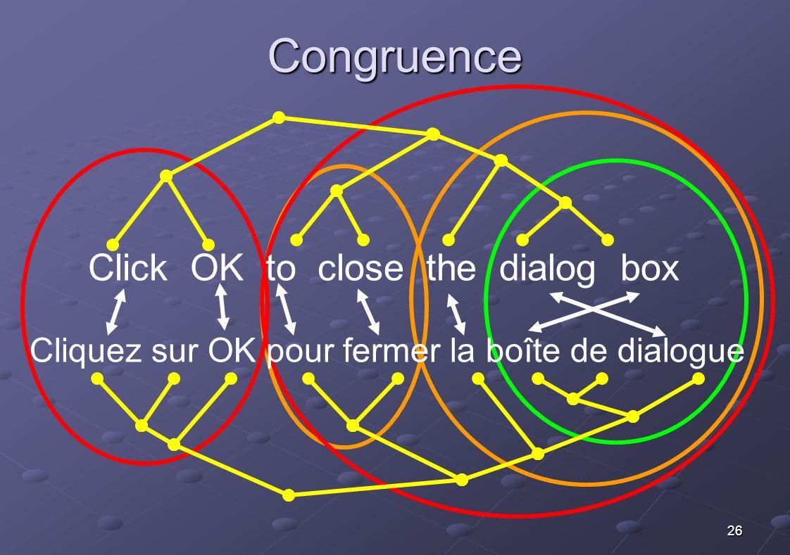 26 Click OK to close the dialog box Cliquez sur OK pour fermer la boîte de dialogue Congruence