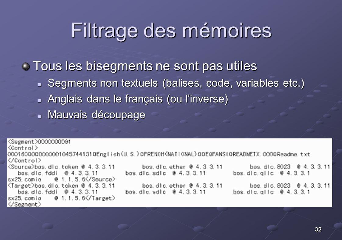 32 Filtrage des mémoires Tous les bisegments ne sont pas utiles Segments non textuels (balises, code, variables etc.) Segments non textuels (balises,