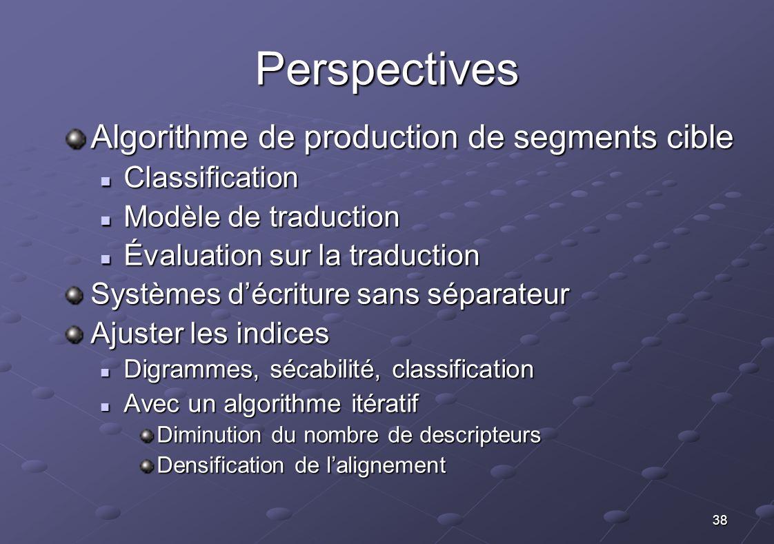 38 Perspectives Algorithme de production de segments cible Classification Classification Modèle de traduction Modèle de traduction Évaluation sur la t