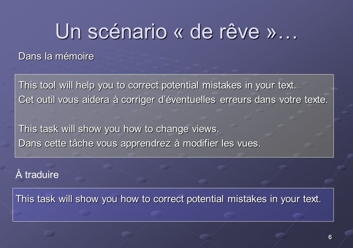 6 À traduire This task will show you how to correct potential mistakes in your text. Un scénario « de rêve »… Dans la mémoire This tool will help you