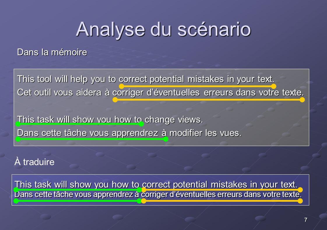 7 À traduire This task will show you how to correct potential mistakes in your text. Dans cette tâche vous apprendrez à corriger déventuelles erreurs