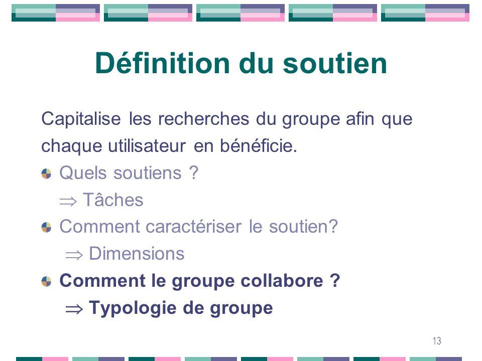 13 Définition du soutien Capitalise les recherches du groupe afin que chaque utilisateur en bénéficie. Quels soutiens ? Tâches Comment caractériser le