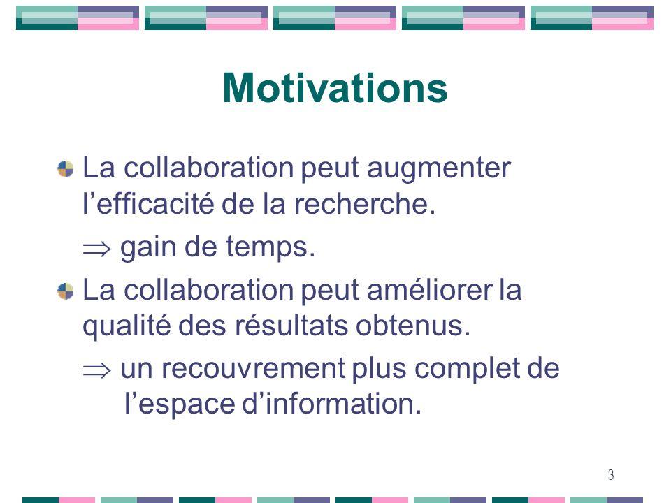 3 Motivations La collaboration peut augmenter lefficacité de la recherche. gain de temps. La collaboration peut améliorer la qualité des résultats obt