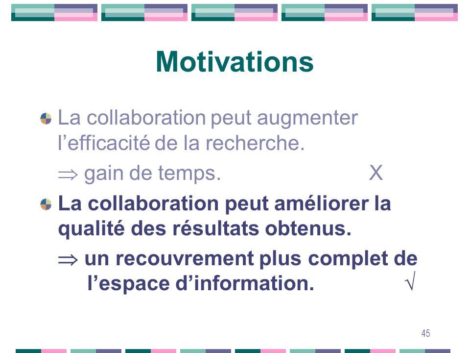 45 Motivations La collaboration peut augmenter lefficacité de la recherche. gain de temps. La collaboration peut améliorer la qualité des résultats ob