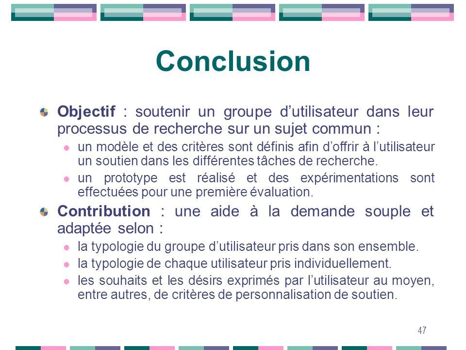 47 Conclusion Objectif : soutenir un groupe dutilisateur dans leur processus de recherche sur un sujet commun : un modèle et des critères sont définis