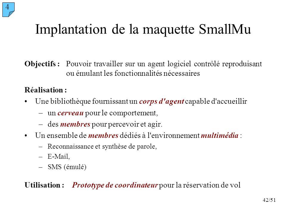 42/51 Implantation de la maquette SmallMu Réalisation : Une bibliothèque fournissant un corps d'agent capable d'accueillir –un cerveau pour le comport