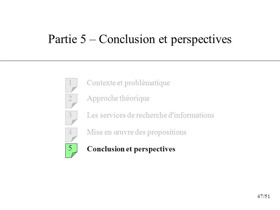 47/51 Partie 5 – Conclusion et perspectives Contexte et problématique 1 2 3 4 5 Approche théorique Les services de recherche d'informations Mise en œu