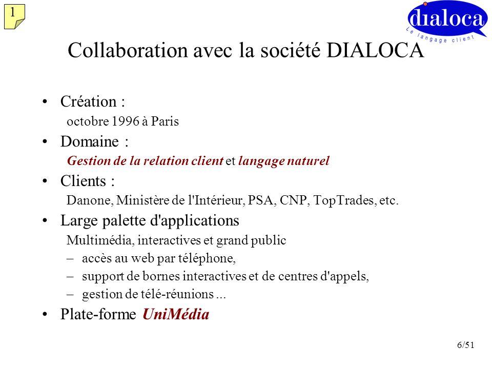 6/51 Collaboration avec la société DIALOCA Création : octobre 1996 à Paris Domaine : Gestion de la relation client et langage naturel Clients : Danone