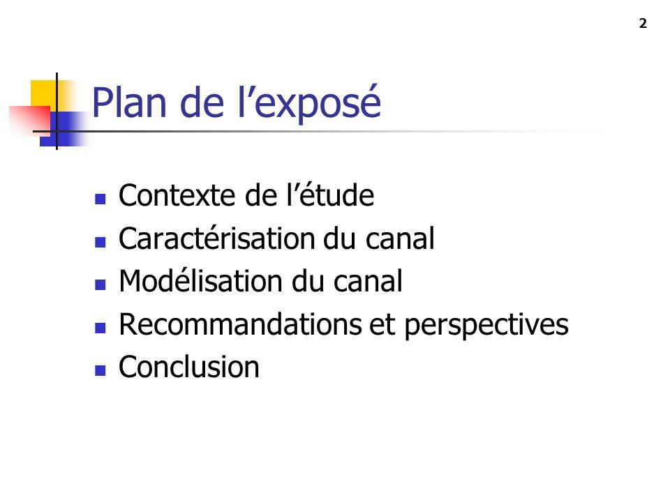 2 Plan de lexposé Contexte de létude Caractérisation du canal Modélisation du canal Recommandations et perspectives Conclusion