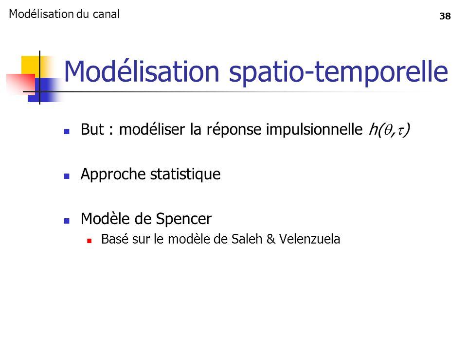 38 Modélisation spatio-temporelle But : modéliser la réponse impulsionnelle h(, ) Approche statistique Modèle de Spencer Basé sur le modèle de Saleh &