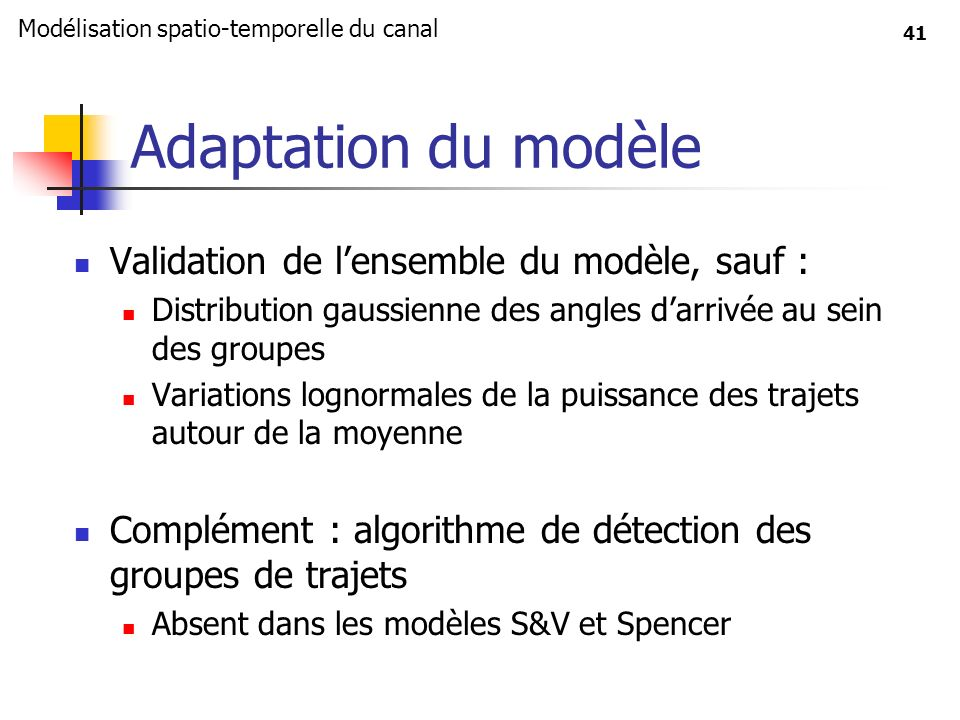 41 Adaptation du modèle Validation de lensemble du modèle, sauf : Distribution gaussienne des angles darrivée au sein des groupes Variations lognormal
