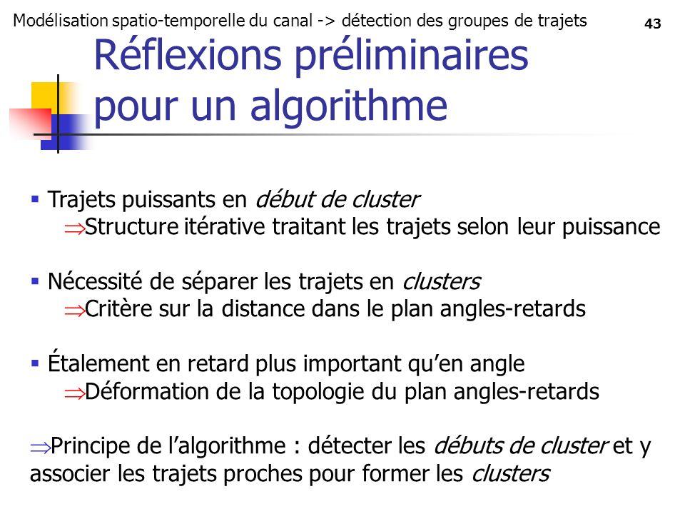 43 Réflexions préliminaires pour un algorithme Modélisation spatio-temporelle du canal -> détection des groupes de trajets Trajets puissants en début