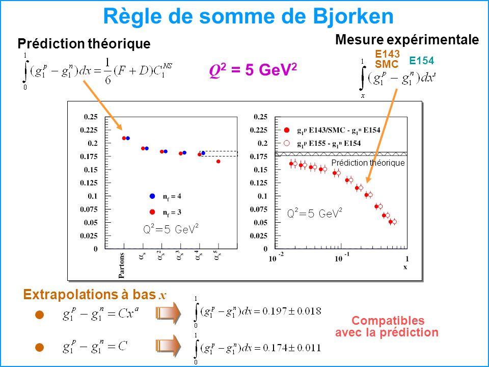 Règle de somme de Bjorken Compatibles avec la prédiction Q 2 = 5 GeV 2 Prédiction théorique Mesure expérimentale E143 SMC E154 Extrapolations à bas x