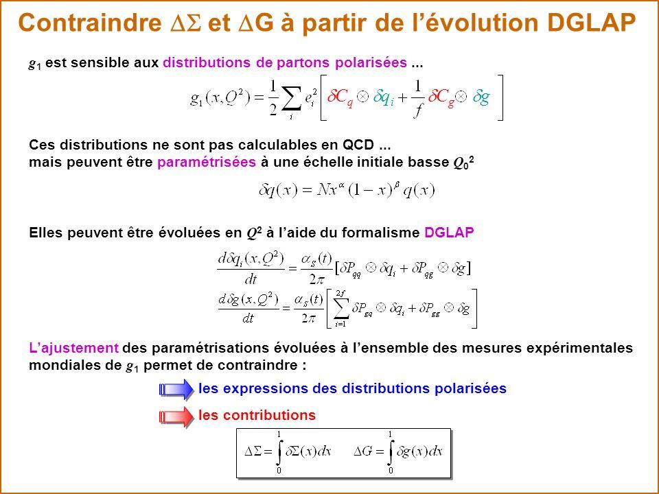 Contraindre et G à partir de lévolution DGLAP C q C g q i g g 1 est sensible aux distributions de partons polarisées... Ces distributions ne sont pas