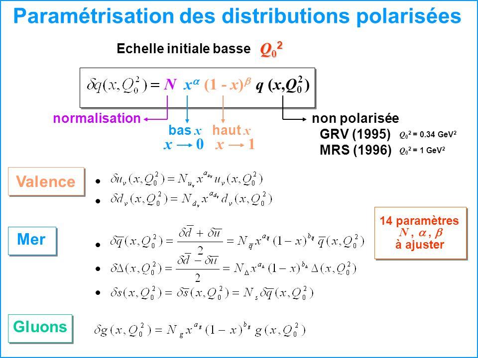 Paramétrisation des distributions polarisées Gluons Valence Mer Echelle initiale basse Q02Q02Q02Q02 x (1 - x) Nq (x,Q 0 ) 2 haut xbas x normalisationn