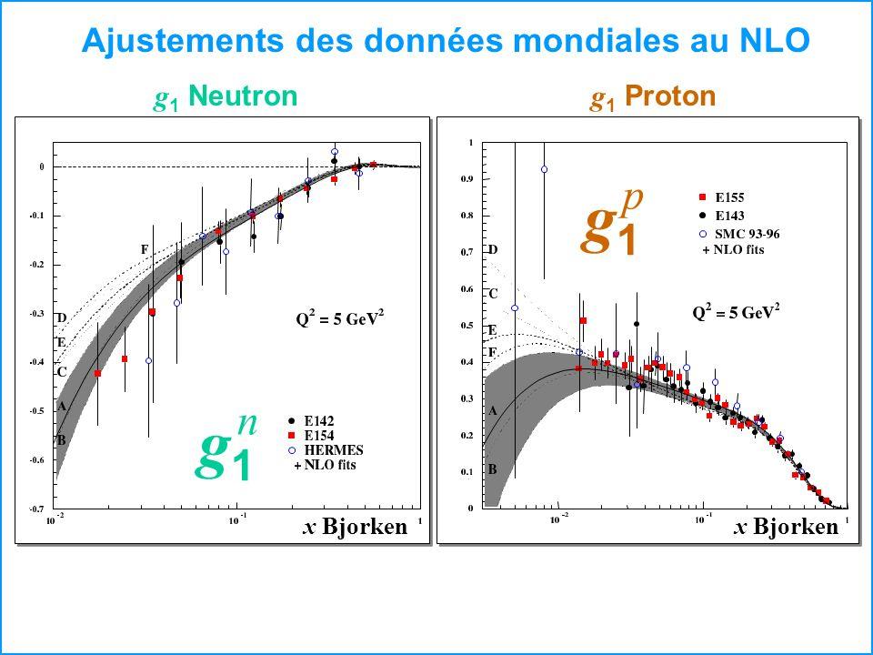 Ajustements des données mondiales au NLO g 1 Neutron g 1 Proton x Bjorken g1g1 p g1g1 n