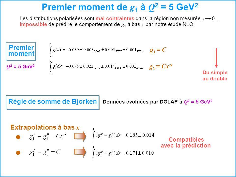 Premier moment de g 1 à Q 2 = 5 GeV 2 Les distributions polarisées sont mal contraintesdans la région non mesurée x 0... Impossible de prédire le comp