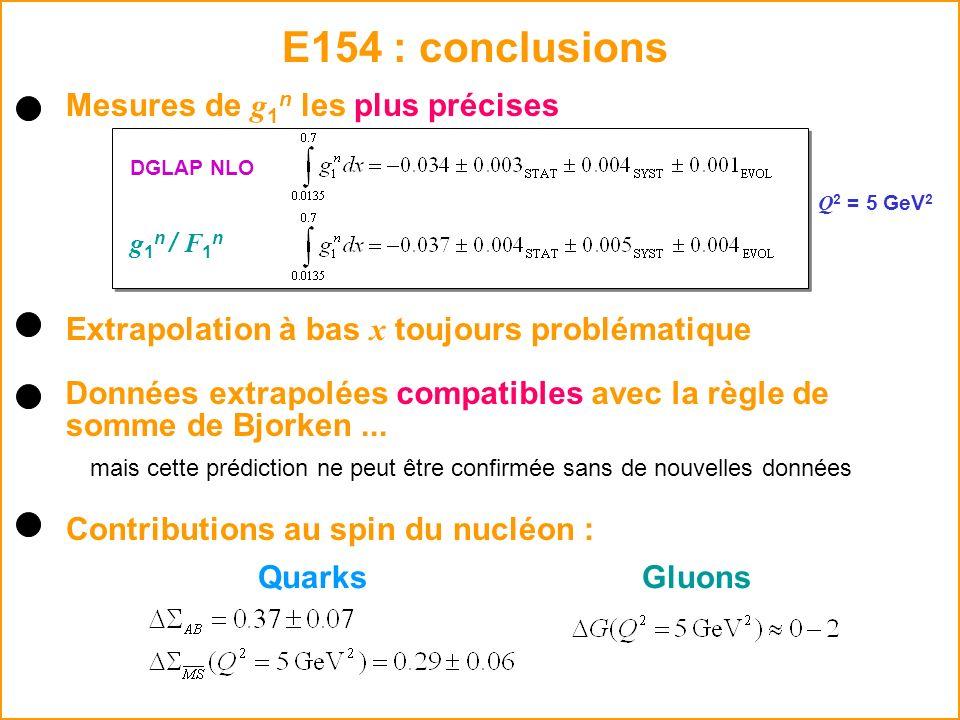 E154 : conclusions Données extrapolées compatibles avec la règle de mais cette prédiction ne peut être confirmée sans de nouvelles données somme de Bj