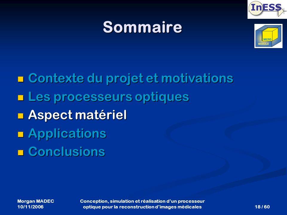 Morgan MADEC 10/11/2006 18 / 60 Conception, simulation et réalisation dun processeur optique pour la reconstruction dimages médicales Sommaire Context