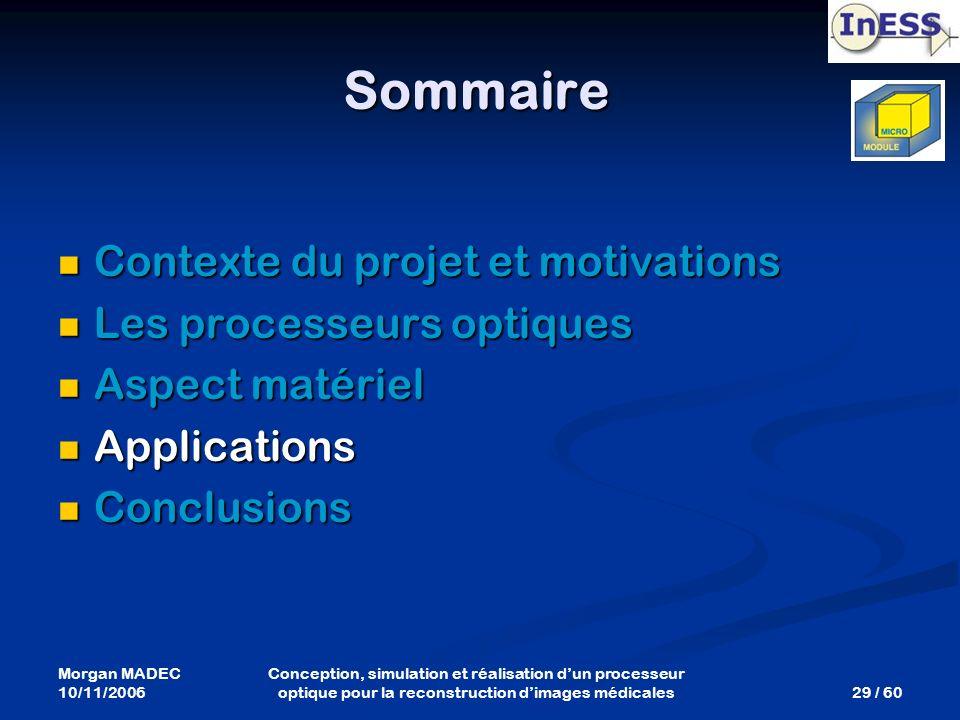 Morgan MADEC 10/11/2006 29 / 60 Conception, simulation et réalisation dun processeur optique pour la reconstruction dimages médicales Sommaire Context
