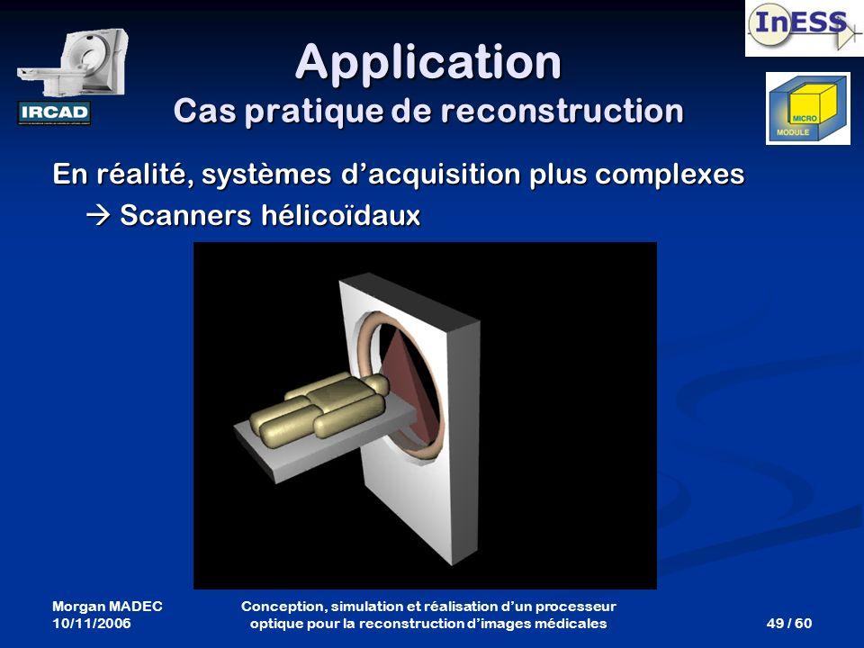 Morgan MADEC 10/11/2006 49 / 60 Conception, simulation et réalisation dun processeur optique pour la reconstruction dimages médicales Application Cas