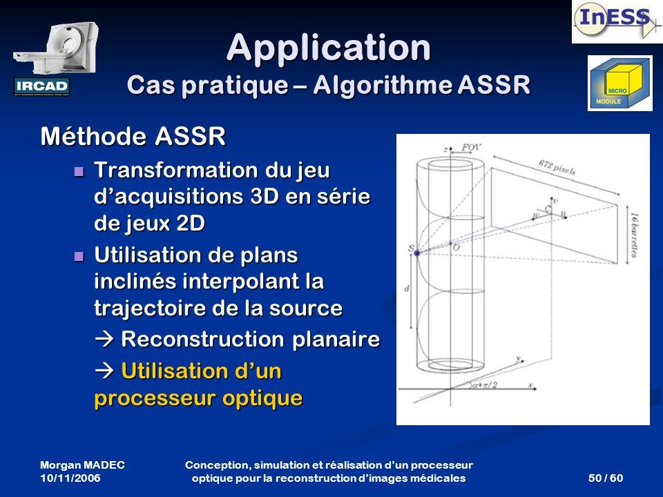 Morgan MADEC 10/11/2006 50 / 60 Conception, simulation et réalisation dun processeur optique pour la reconstruction dimages médicales Méthode ASSR Tra