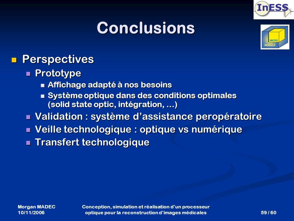 Morgan MADEC 10/11/2006 59 / 60 Conception, simulation et réalisation dun processeur optique pour la reconstruction dimages médicales Conclusions Pers